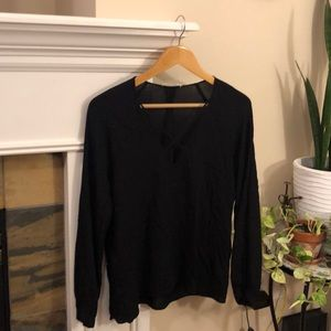 Black Lush Criss Cross long sleeve top